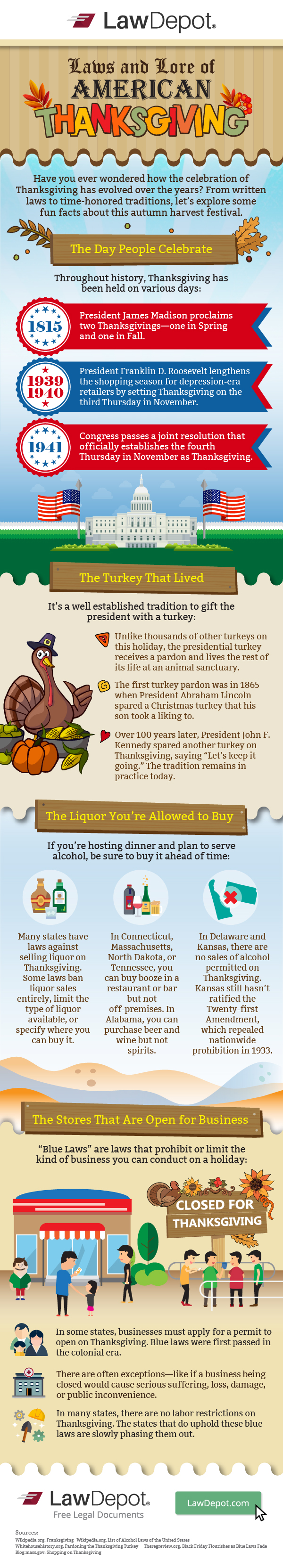 """Have you ever wondered how the celebration of Thanksgiving has evolved over the years? From written laws to time-honored traditions, let's explore some fun facts about this autumn harvest festival.  The Day People Celebrate Throughout history, Thanksgiving has been held on various days: 1815: President James Madison proclaims two Thanksgivings—one in spring and one in fall.  1939-1940: President Franklin D. Roosevelt lengthens the shopping season for depression-era retailers by setting Thanksgiving on the third Thursday in November. 1941: Congress passes a joint resolution that officially establishes the fourth Thursday in November as Thanksgiving.  The Turkey That Lived It's a well-established tradition to gift the president with a turkey:  Unlike thousands of other turkeys on this holiday, the presidential turkey receives a pardon and lives the rest of its life at an animal sanctuary. The first turkey pardon was in 1865 when President Abraham Lincoln spared a Christmas turkey that his son took a liking to. Over 100 years later, President John F. Kennedy spared another turkey on Thanksgiving, saying """"Let's keep it going."""" The tradition remains in practice today. The Liquor You're Allowed to Buy If you're hosting dinner and plan to serve alcohol, be sure to buy it ahead of time: Many states have laws against selling liquor on Thanksgiving. Some laws ban liquor sales entirely, limit the type of liquor available, or specify where you can buy it. In Connecticut, Massachusetts, North Dakota, or Tennessee, you can buy booze in a restaurant or bar but not off-premises. In Alabama, you can purchase beer and wine but not spirits. In Delaware and Kansas,there are no sales of alcohol permitted on Thanksgiving. Kansas still hasn't ratified the Twenty-first Amendment, which repealed nationwide prohibition in 1933. The Stores That Are Open for Business """"Blue Laws"""" are laws that prohibit or limit the kind of business you can conduct on a holiday: In some states, businesses must a"""