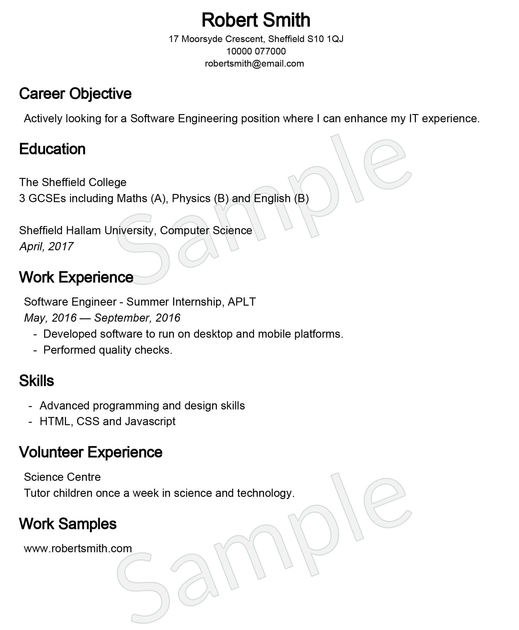 United Kingdom Curriculum Vitae Cv Example: CV Builder (UK)